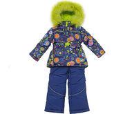 Зимний комплект Kiko для девочки ДИВНЫЙ САД (синий), 1-6 лет