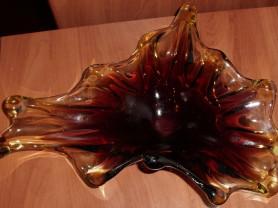 Ваза медуза цветное стекло СССР 32х15х10 см