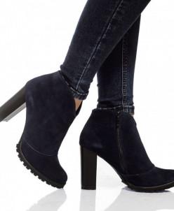 Женские замшевые ботинки на каблуке (байка/экомех)