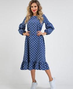 Платье 210/1 синий/горох