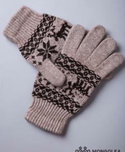 """Перчатки взрослые из шерсти """"Як"""" коричневый с рисунком"""