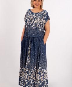 Платье Анджелина-2 джинс/цветы молочные