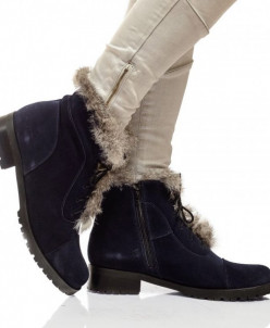 Женские замшевые ботинки на шнуровке (байка/экомех)
