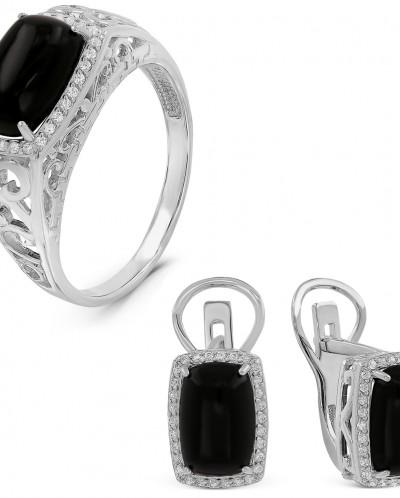 Гарнитур из серебра с нат.чёрным агатом и фианитами родирова