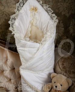 Нарядный конверт-одеяло с мехом, на пол.гипюр