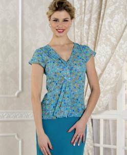 Блуза бирюзовая в мелкий цветочек