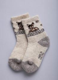 """Носки детские из 100% шерсти с рисунком """"Олененок"""""""