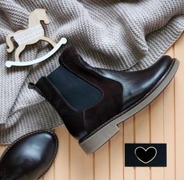 Шоколадные ботинки Челси из кожи/велюра. New collection