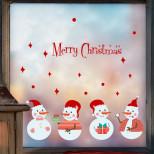 Интерьерная многоразовая наклейка «Снеговики»