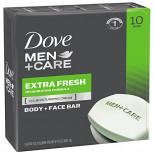 Dove Men+Care Body and Face Bar, Extra Fresh 4 oz, 10шт