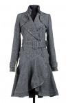09-1699 Пальто женское демисезонное (пояс) Твид Серый