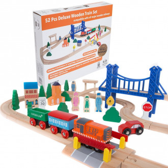 Orbrium Toys 52 Pcs Deluxe Wooden Train Set with 3 Destinati