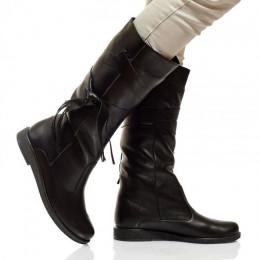 Женские кожаные сапоги с декором (байка/экомех - на выбор)