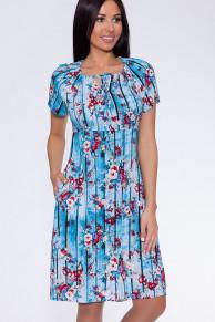 16131 Платье (BERGAMO)Голубой/цветы