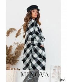 Пальто №530-1-Черно-Белый