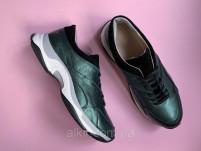 Кроссовки 508-11 зеленый перл + черн замша ( крос 3 черн с19