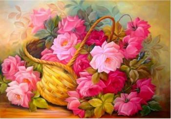 Вышивка стразами * АКорзина с цветами