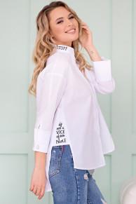 Блуза с надписями цвет белый Б-115-1