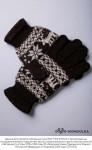 """Перчатки из шерсти """"Як"""" шоколадный с рисунком, Монголия"""