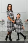 """Комплект платьев мама+дочка """"Глория"""" серо-розовая клетка"""