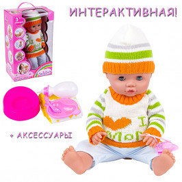 Кукла интерактивная говорящая в вязаной одежде i love mom