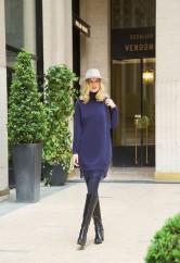 Платье-свитер с кружевным низом