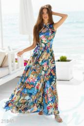 Разноцветное шифоновое платье