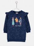 Kız Baskılı Fırfırlı Sweatshirt Elbise толстовка
