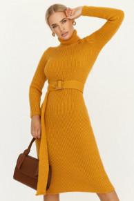 Горчичное платье с поясом