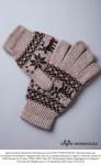 """Перчатки из шерсти """"Як"""" коричневый с рисунком, Монголия"""