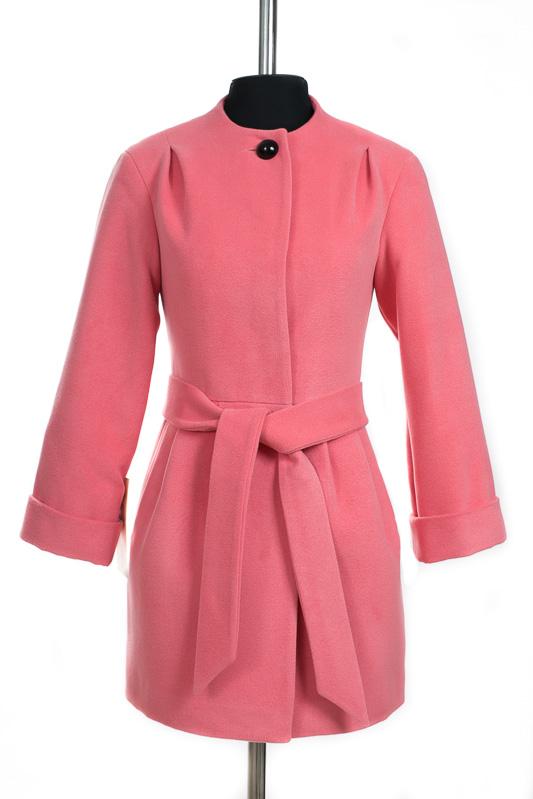 01-3025 Пальто женское демисезонное (пояс) Кашемир Розовый