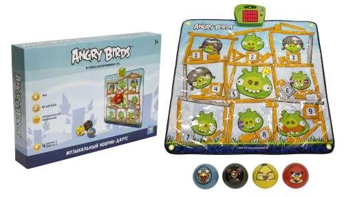 музыкальный коврик-игра дартс Angry Birds, 4 мячика