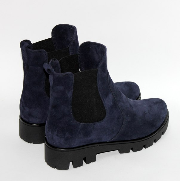 Ботинки Челси. Синяя замша.