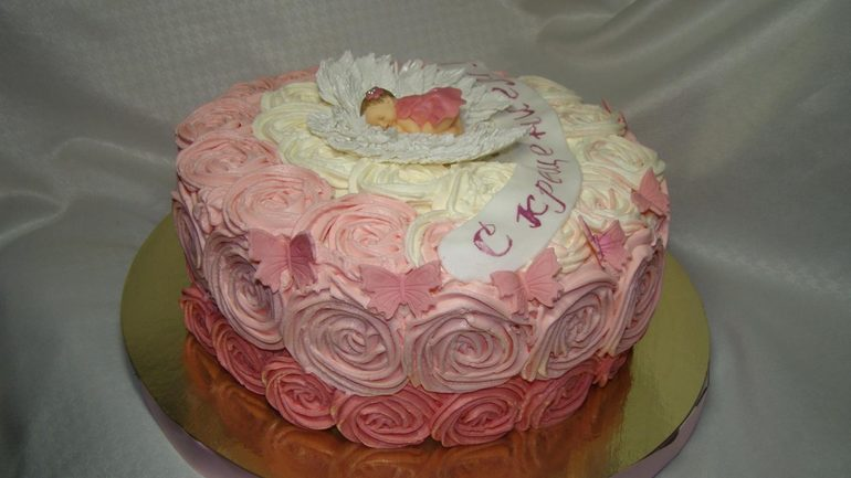 фото торт на крестины из крема