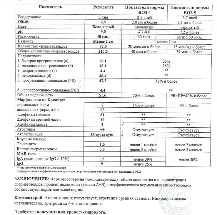 Эритроциты в спермограмме 2 5