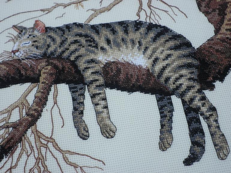 Схема к вышивке уставший кот
